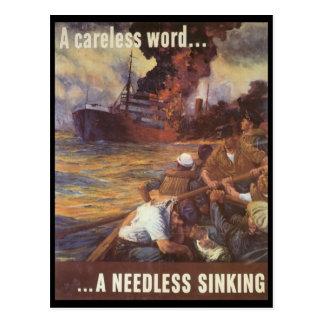 A Careless Word World War 2 Postcard