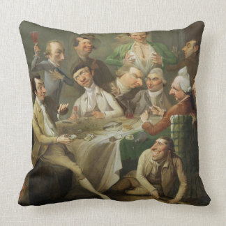 A Caricature Group, c.1776 (oil on canvas) Throw Pillow