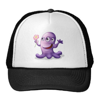 A caring three-eyed monster trucker hat
