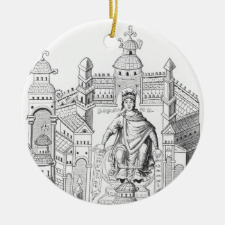 A Carlovingian king in his palace, personifying Wi Double-Sided Ceramic Round Christmas Ornament