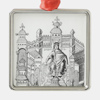 A Carlovingian king in his palace, personifying Wi Square Metal Christmas Ornament