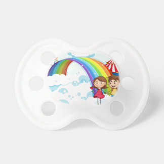A carnival in the sky with a rainbow pacifier