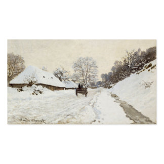 A Cart on the Snowy Road at Honfleur, Claude Monet Business Card Template