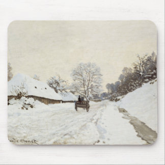 A Cart on the Snowy Road at Honfleur, Claude Monet Mouse Pad
