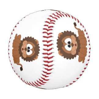 A cartoon brown smiling Drawn Lion Baseball