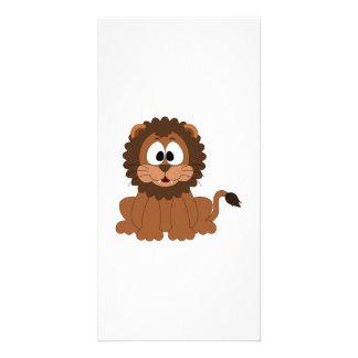 A cartoon brown smiling Drawn Lion Card