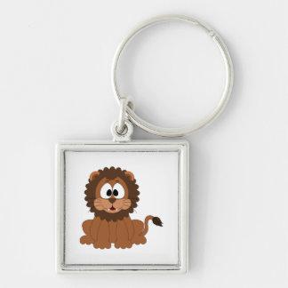 A cartoon brown smiling Drawn Lion Keychain