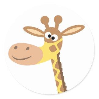 A cartoon giraffe round sticker sticker