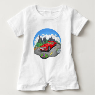 A cartoon illustration of a car. baby romper