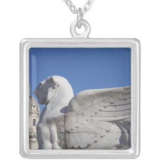 A carved winged lion at the front of the Victor Silver Plated Necklace