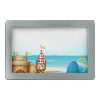 A castle at the beach belt buckles