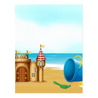A castle at the beach postcards