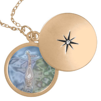 A cat abstract pattern round locket necklace