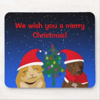 A cat and a dog, Xmas greeting with a tree Mouse Pad
