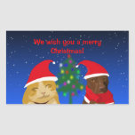 A cat and a dog, Xmas greeting with a tree Rectangular Sticker
