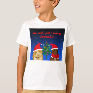 A cat and a dog, Xmas greeting with a tree T-Shirt