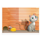 A cat and a rat with cheese postcard