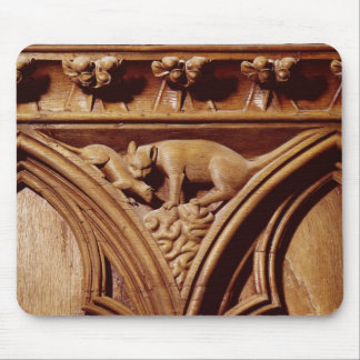 A cat and mouse, from a choir stall mousepad
