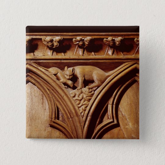 A cat and mouse, from a choir stall pinback button