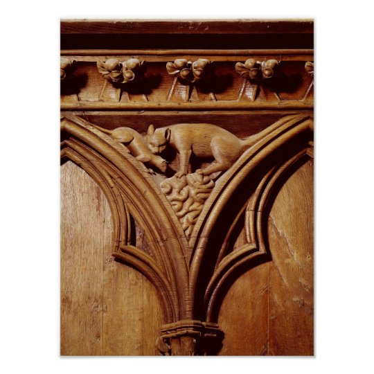A cat and mouse, from a choir stall poster