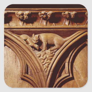 A cat and mouse, from a choir stall square sticker