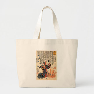 A cat dressed as a woman tapping the head large tote bag