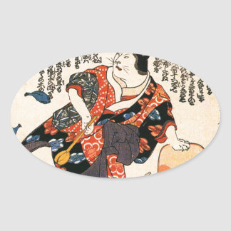 A cat dressed as a woman tapping the head oval sticker