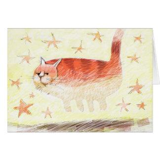 A cat floats amongst the stars card