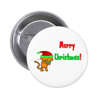 A Cat Holds Up A Wreath On Xmas Buttons