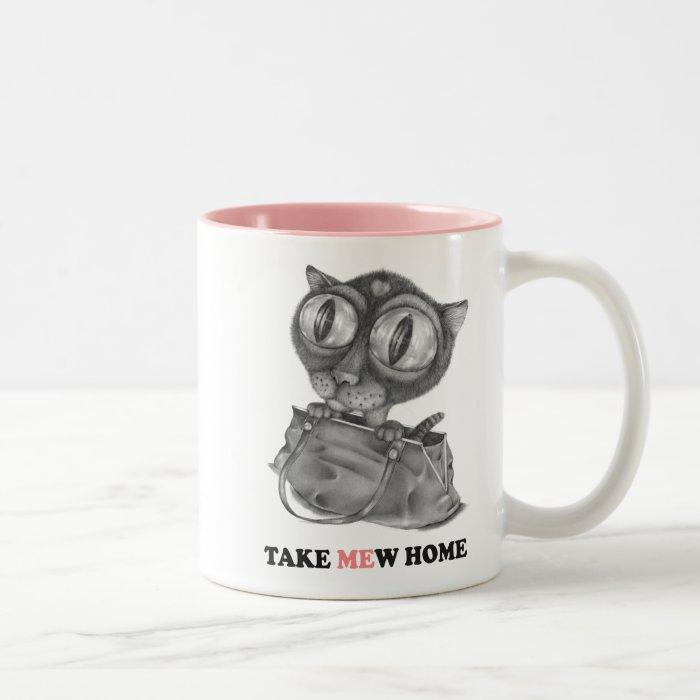 A Cat in a Bag Two-Tone Coffee Mug