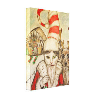 A Cat in a Santa Hat Canvas Print