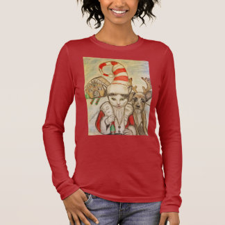 A Cat in a Santa Hat Long Sleeve T-Shirt