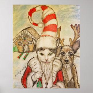 A Cat in A Santa Hat Poster