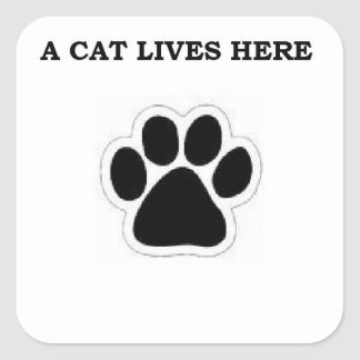A Cat Lives Here Sticker