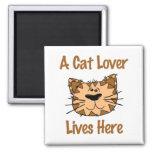 A Cat lover lives here Refrigerator Magnet