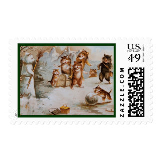 A Cat Lover's Season's Greetings Postage Stamps