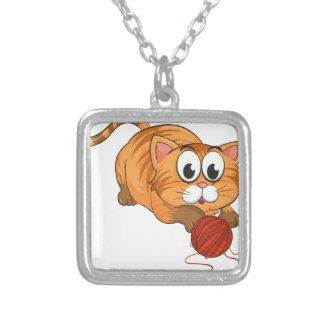a cat square pendant necklace