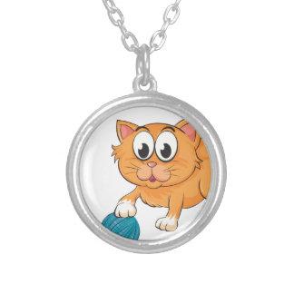 a cat round pendant necklace