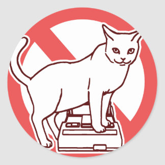A cat resets a computer in Japan Classic Round Sticker