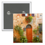 A cat seeks entrance to home in Pienza, Italy. 2 Inch Square Button