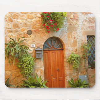 A cat seeks entrance to home in Pienza, Italy. Mouse Pad