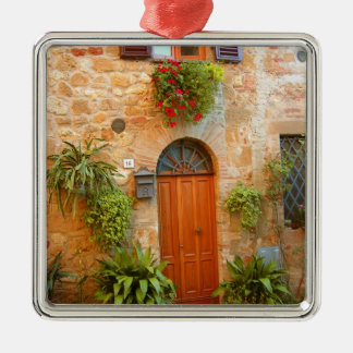 A cat seeks entrance to home in Pienza, Italy. Square Metal Christmas Ornament