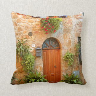 A cat seeks entrance to home in Pienza, Italy Throw Pillow