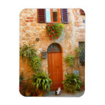 A cat seeks entrance to home in Pienza, Italy. Rectangular Photo Magnet