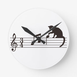 A Cat Toying with Notes Round Wallclock