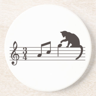 A Cat Toying with Notes Sandstone Coaster