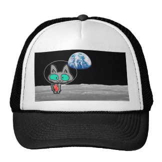 A Cat Vactioning On The Moon Trucker Hats