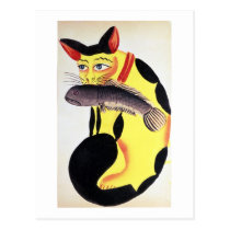 A cat with a fish in its mouth, from the Rudyard K Postcard
