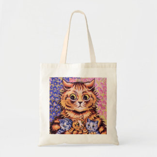 A Cat with her Kittens by Louis Wain Tote Bag