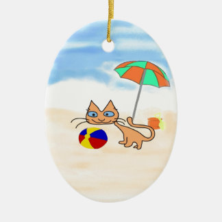 A cat with Toys At The Beach Christmas Tree Ornaments